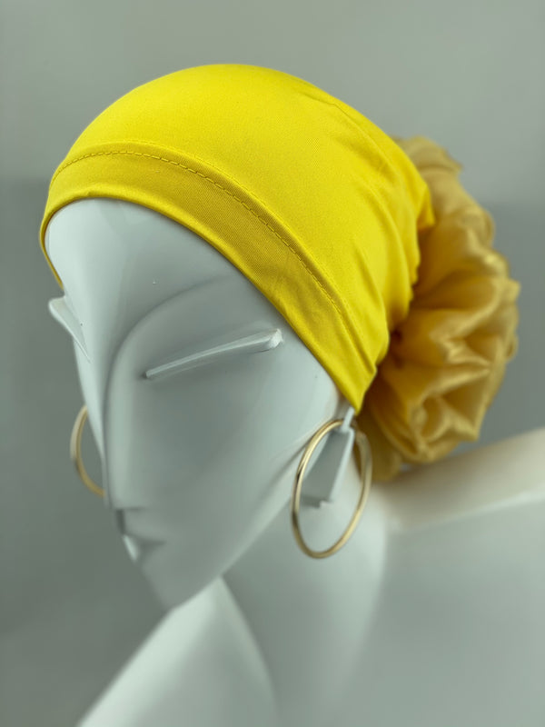 Volumizing Scrunchie Cap - Yellow