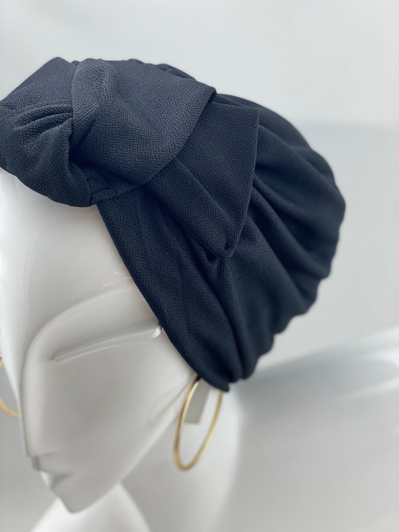 Turban Bow - Black - Soft jersey (MUST HAVE)