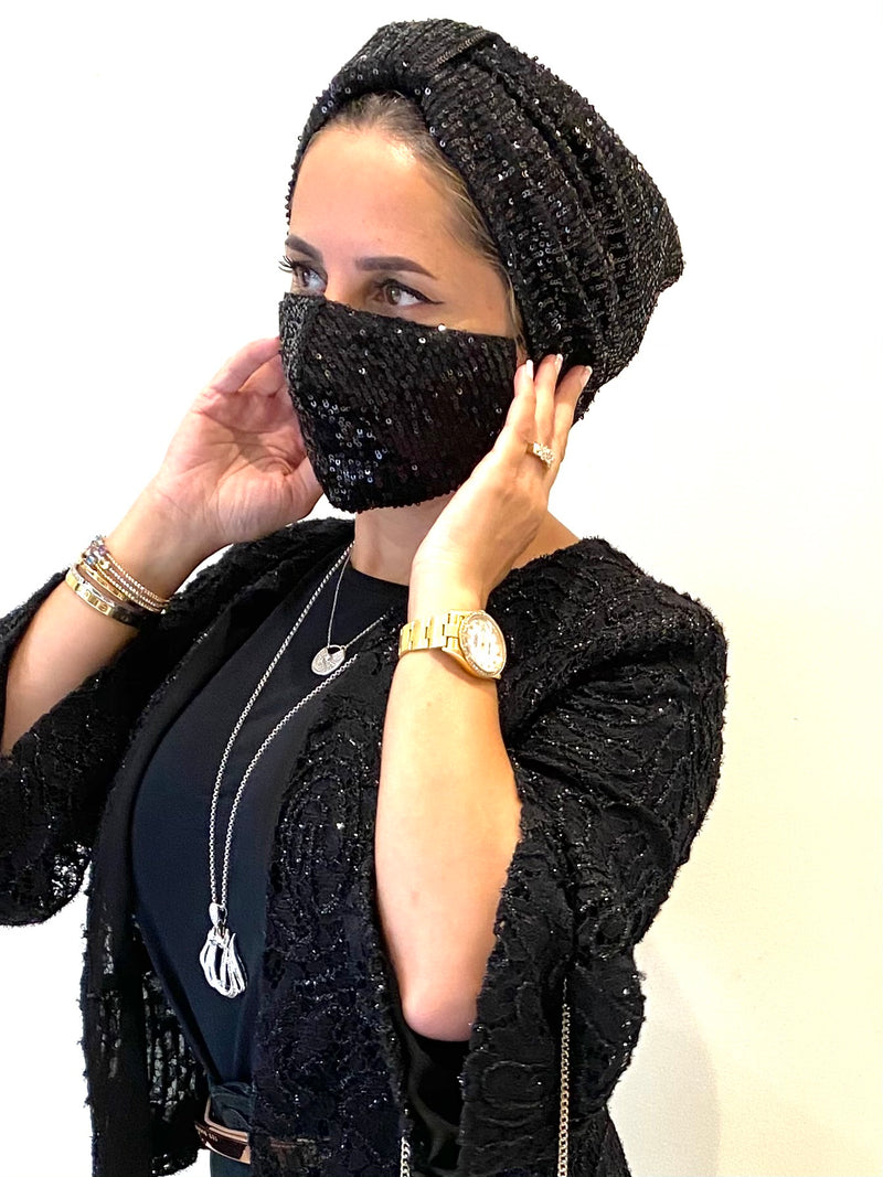 Turban Sequin - Black