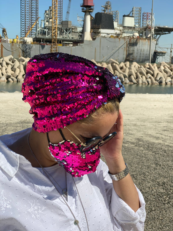Turban Sequin - Fuchsia