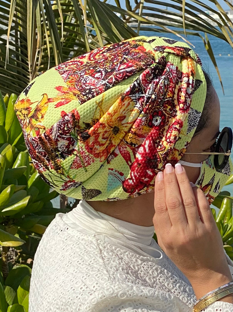 Turban Floral - Neon (Designer Mask Included)