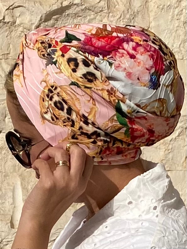 Cross front Turban Tiger Jersey - Pink