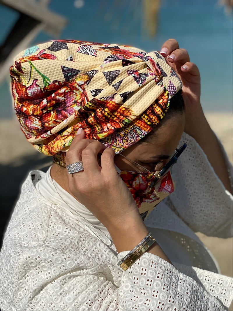Turban Geometric - Sand (Designer Mask Included)