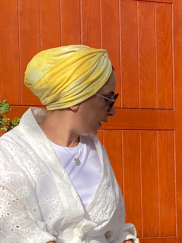 Cross front Jersey Turban  - Yellow Tie Dye