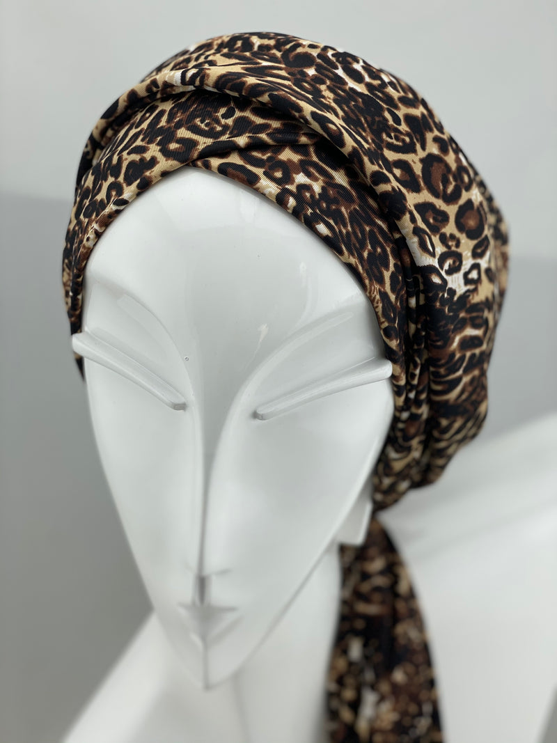 Wrap - New Brown leopard print - Polyester Jersey