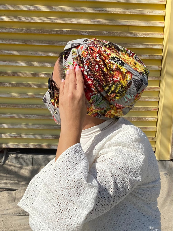Turban Geometric - Grey (Designer Mask Included)