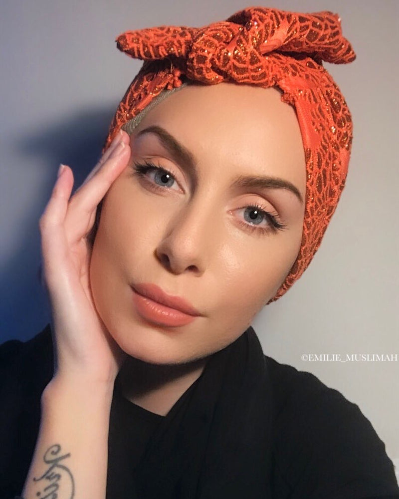 Turban Shimmer Bow - Orange