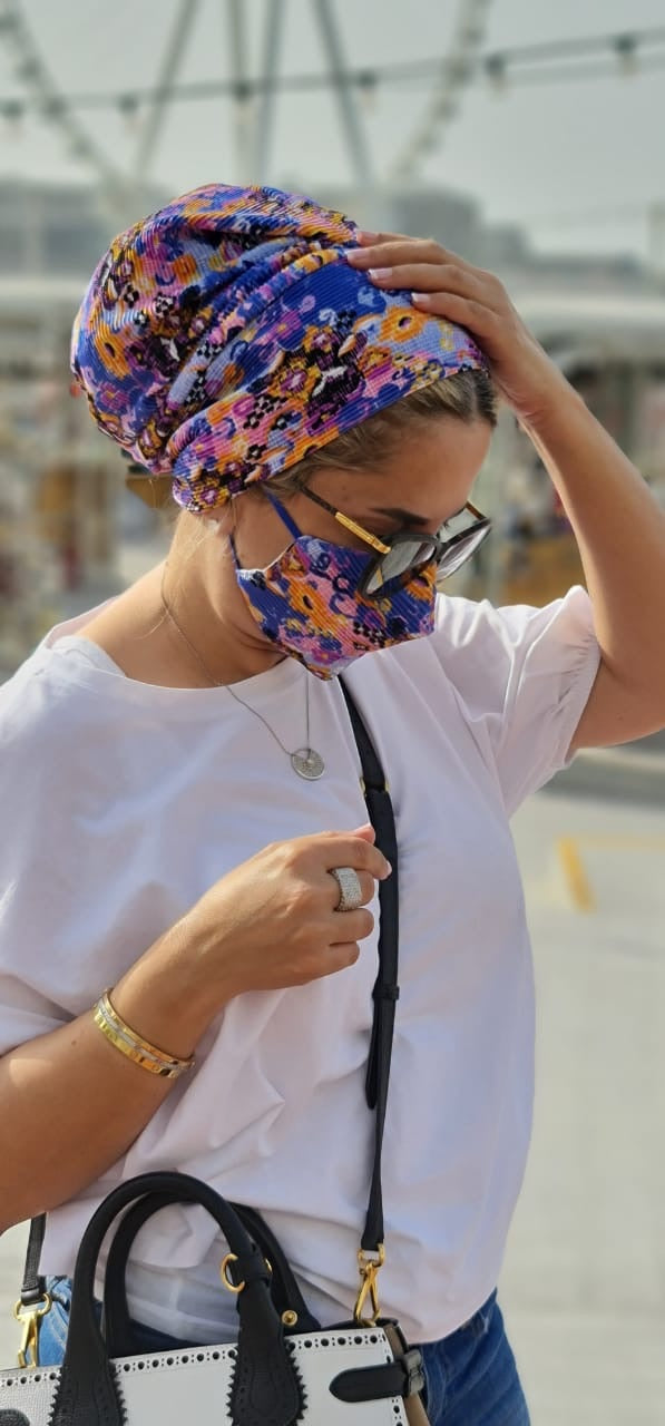 Turban Beanie Pleated - Casual (Designer Mask Included) LAST PIECE