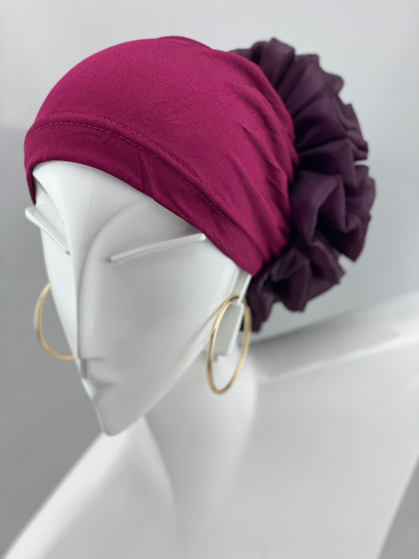 Volumizing Scrunchie Cap - Burgundy