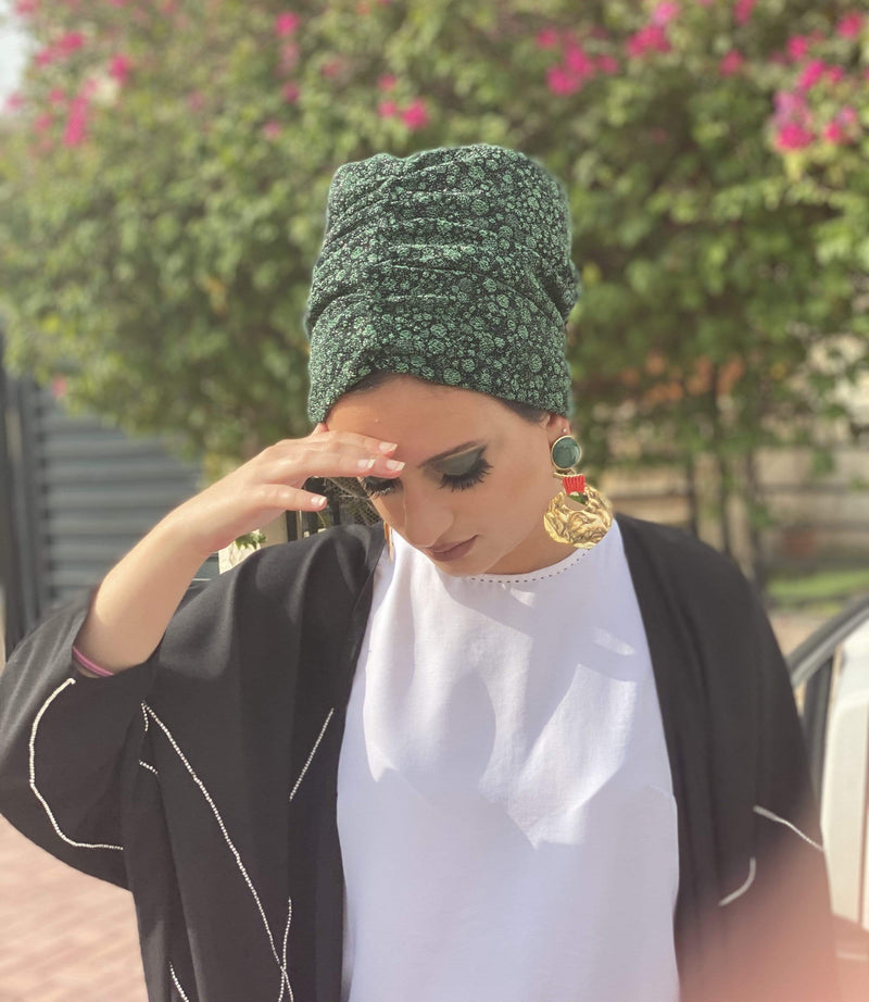 TurbansStuff BEANIE SHIMMER Beanie Jersey Shimmer - Forest Green Handmade Luxury Fashion Women Headwrap