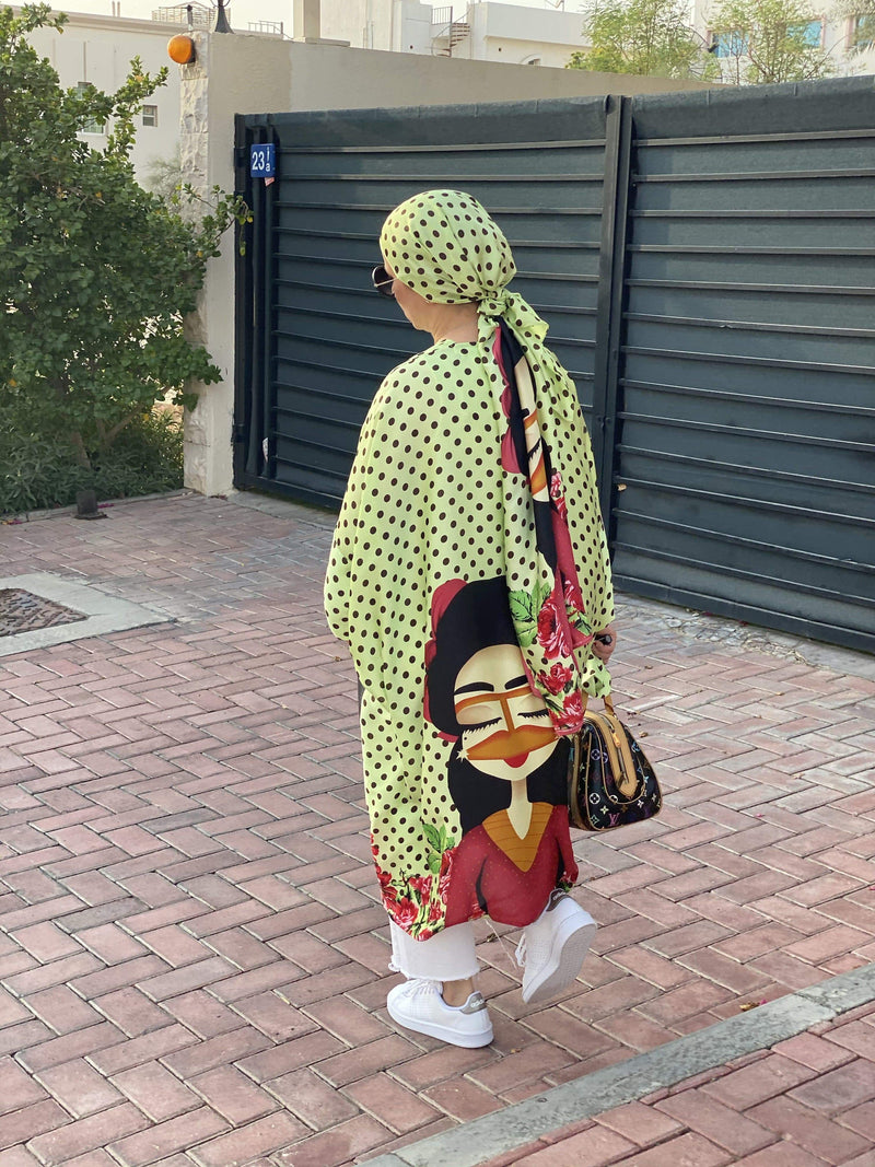 TurbansStuff Cardigan Cardigan - Neon Summer Set - Medium Size Handmade Luxury Fashion Women Headwrap
