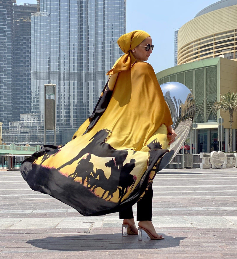 TurbansStuff Cardigan Cardigan Sahara Silk- Yellow - Fits Small & Medium Sizes Handmade Luxury Fashion Women Headwrap