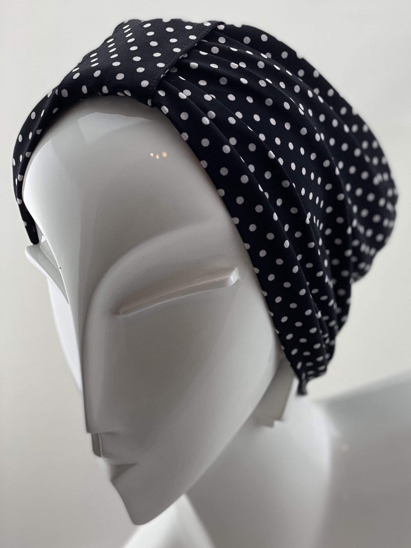 TurbansStuff Geometric turban Turban Jersey - Polka Dots Handmade Luxury Fashion Women Headwrap