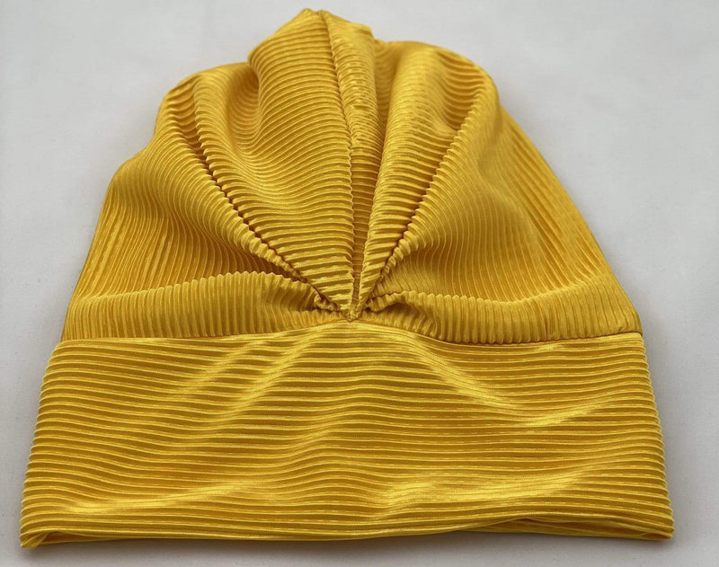 TurbansStuff Metallic beanie Turban Beanie - Yellow Handmade Luxury Fashion Women Headwrap