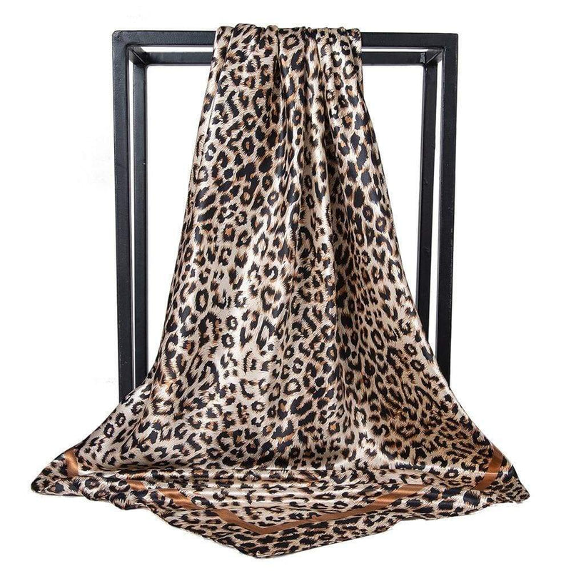 TurbansStuff Printed square satin scarf Printed Square Satin Scarf - Leopard Small Prints Handmade Luxury Fashion Women Headwrap