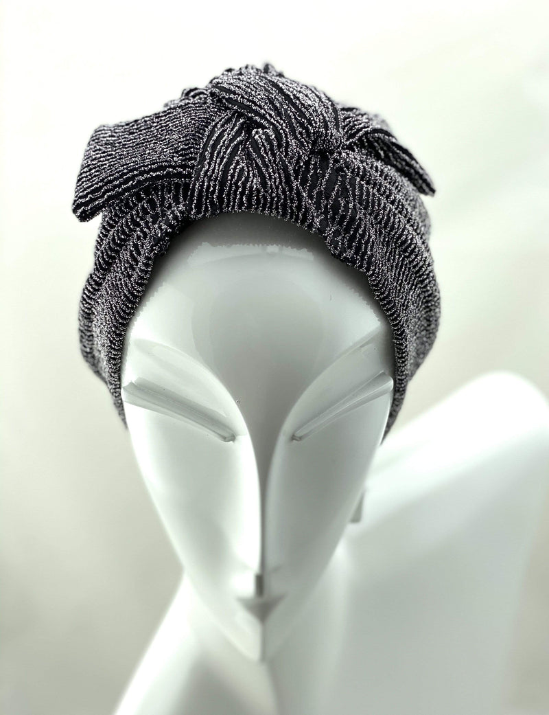 TurbansStuff Specials Turban Shimmer Bow - Black Silver Stripes Handmade Luxury Fashion Women Headwrap