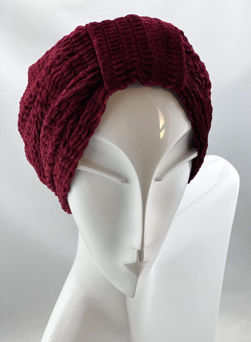 TurbansStuff Turban beanie Basic Velvet Turban - Burgundy Handmade Luxury Fashion Women Headwrap