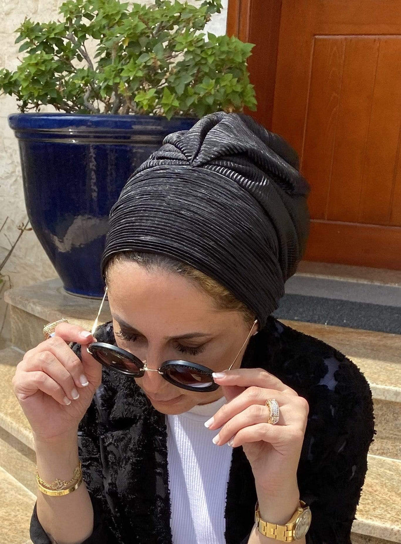 TurbansStuff Turban beanie Beanie - Black Handmade Luxury Fashion Women Headwrap