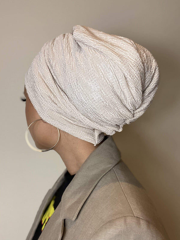 TurbansStuff Turban beanie Beanie Pleated - Ivory Handmade Luxury Fashion Women Headwrap