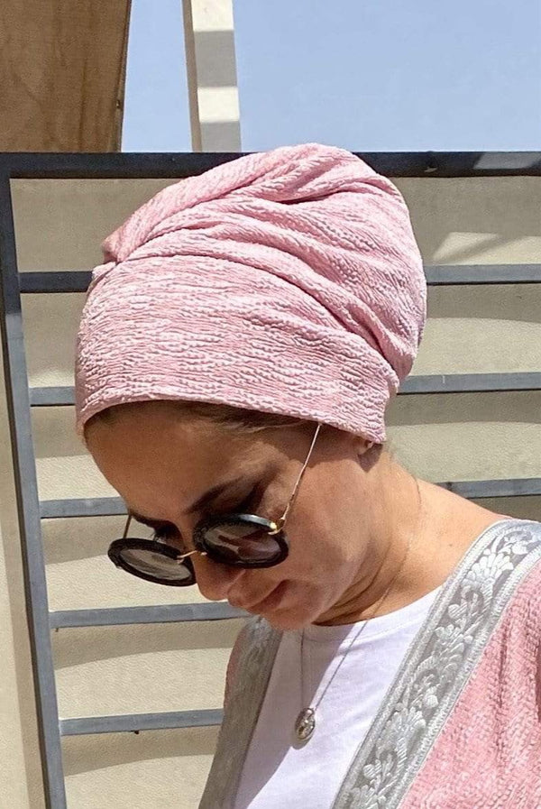 TurbansStuff Turban beanie Beanie Pleated - Pink Handmade Luxury Fashion Women Headwrap