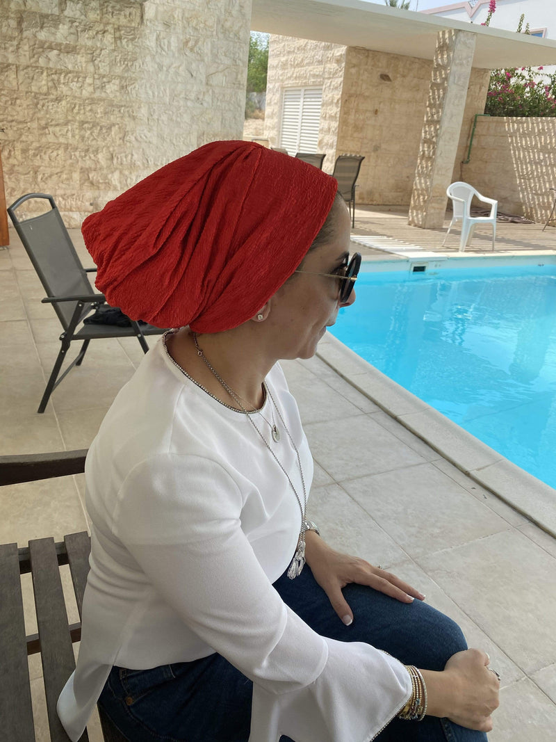 TurbansStuff Turban beanie Beanie Pleated - Red ( limited quantities available, no restock) Handmade Luxury Fashion Women Headwrap