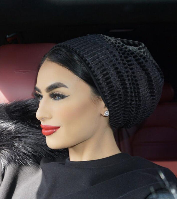 TurbansStuff Turban beanie Beanie Velvet Black Handmade Luxury Fashion Women Headwrap