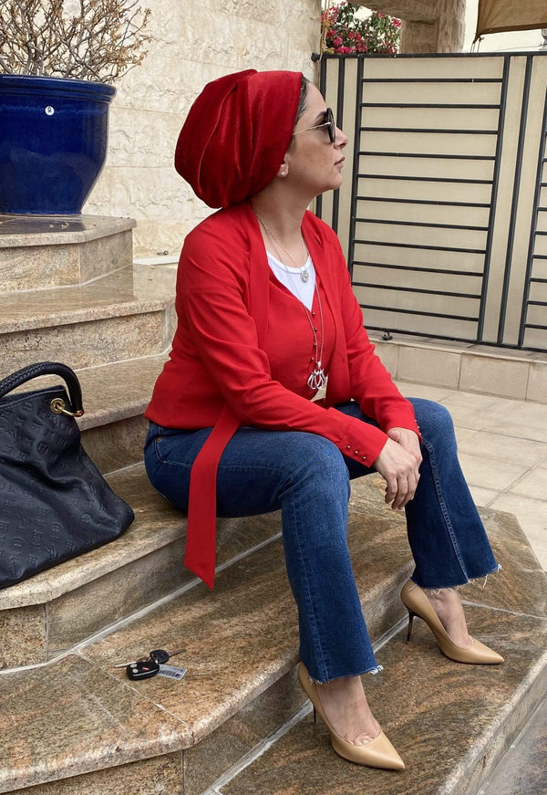TurbansStuff Turban beanie Beanie Velvet Red Handmade Luxury Fashion Women Headwrap
