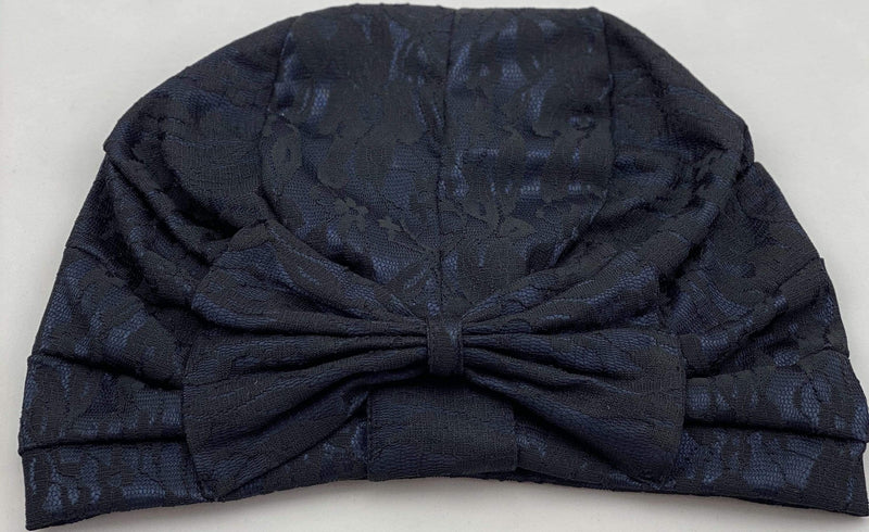 TurbansStuff TURBAN BOW Lace Style - Navy Black Handmade Luxury Fashion Women Headwrap