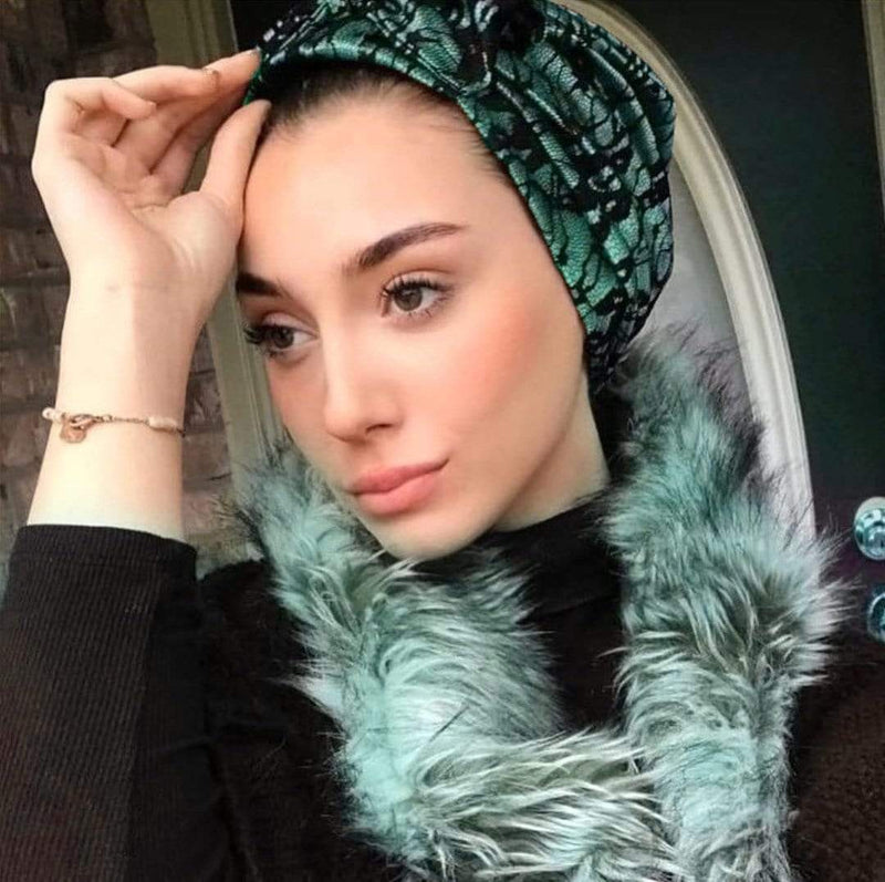 TurbansStuff TURBAN BOW Lace Style - Olives Black Handmade Luxury Fashion Women Headwrap