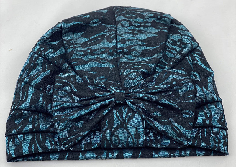 TurbansStuff TURBAN BOW Lace Style - Turquoise Black Handmade Luxury Fashion Women Headwrap