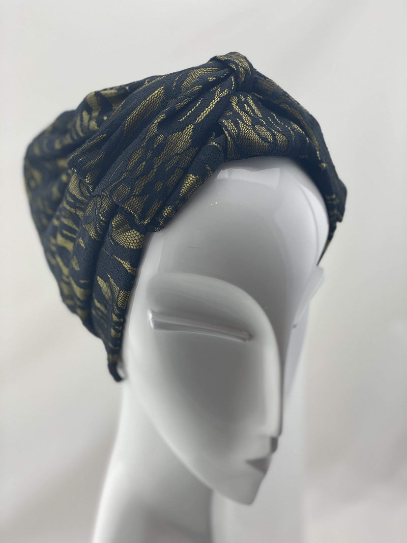 TurbansStuff TURBAN BOW Lace Style - Yellow Black Handmade Luxury Fashion Women Headwrap