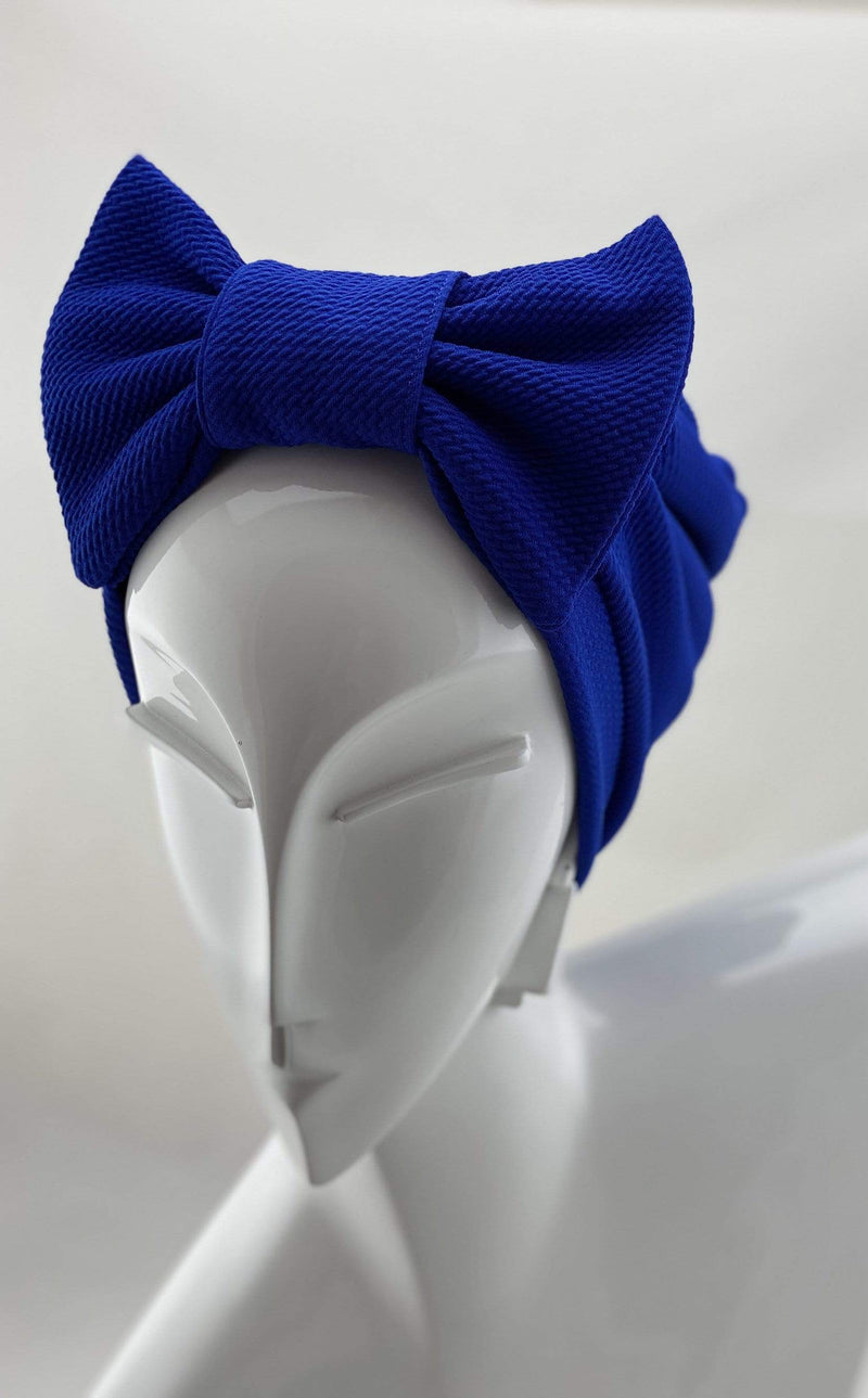 TurbansStuff TURBAN BOW Turban Bow - Blue Handmade Luxury Fashion Women Headwrap