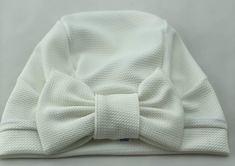 TurbansStuff TURBAN BOW Turban Bow - Off White Handmade Luxury Fashion Women Headwrap