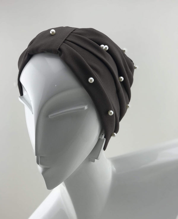 TurbansStuff Turban Pearl Turban Basics Pearl Brown Handmade Luxury Fashion Women Headwrap