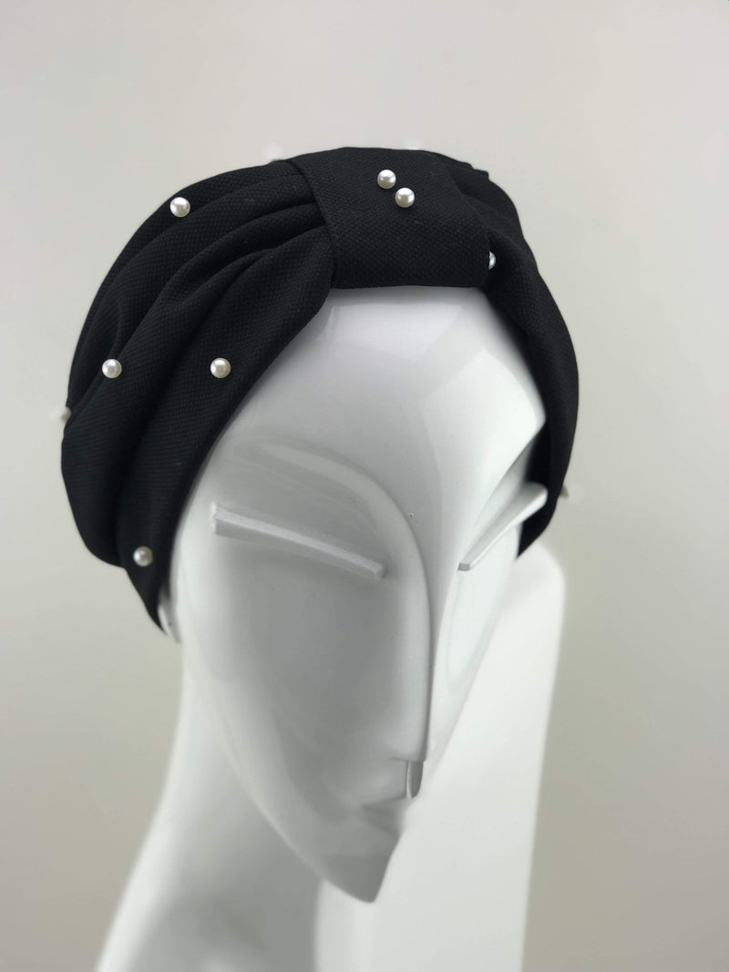 TurbansStuff Turban Pearl Turban - Pearl Black Handmade Luxury Fashion Women Headwrap