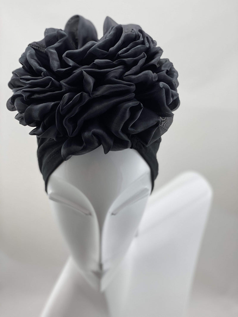 TurbansStuff Volumizing scrunchie Volumizing Scrunchie Cap - Black Handmade Luxury Fashion Women Headwrap
