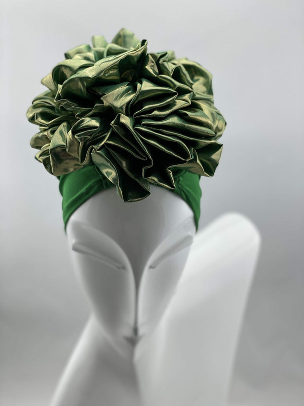 TurbansStuff Volumizing scrunchie Volumizing Scrunchie Cap - Green Metallic Handmade Luxury Fashion Women Headwrap