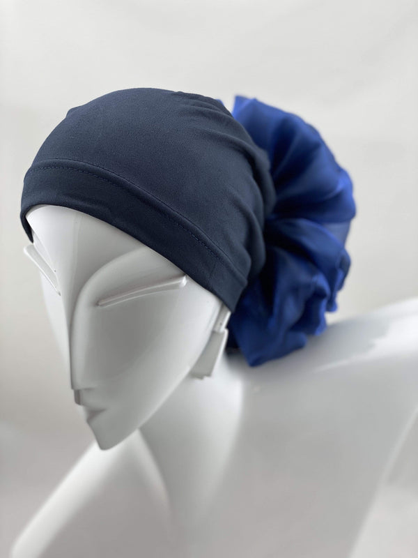 TurbansStuff Volumizing scrunchie Volumizing Scrunchie Cap - Navy Handmade Luxury Fashion Women Headwrap