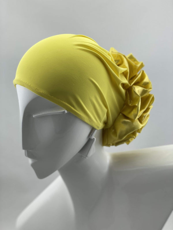 TurbansStuff Volumizing scrunchie Volumizing Scrunchie Cap - Neon Yellow Metallic Handmade Luxury Fashion Women Headwrap
