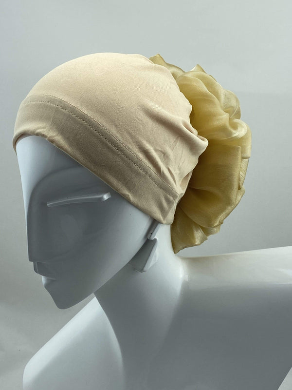 TurbansStuff Volumizing scrunchie Volumizing Scrunchie Cap - Nude Handmade Luxury Fashion Women Headwrap