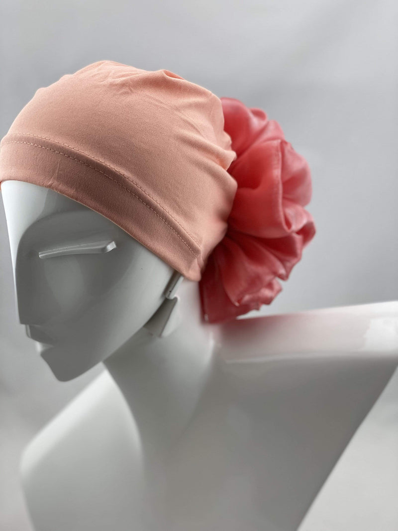 TurbansStuff Volumizing scrunchie Volumizing Scrunchie Cap - Peaches Handmade Luxury Fashion Women Headwrap