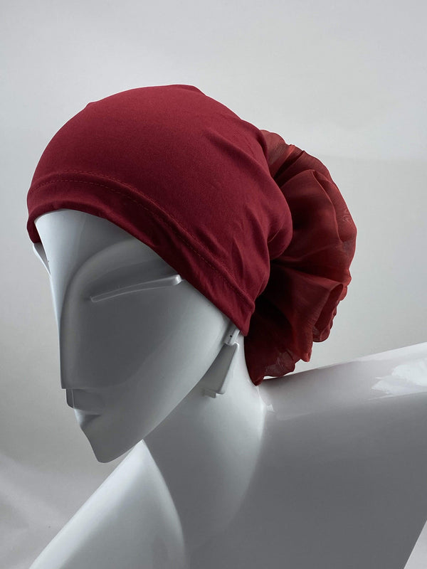 TurbansStuff Volumizing scrunchie Volumizing Scrunchie Cap - Red Handmade Luxury Fashion Women Headwrap