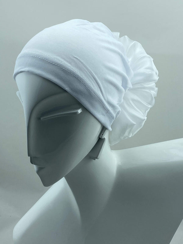 TurbansStuff Volumizing scrunchie Volumizing Scrunchie Cap - White Handmade Luxury Fashion Women Headwrap