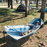 PahaQue Double Hammock in Navy and Light Blue with Spreader Bar