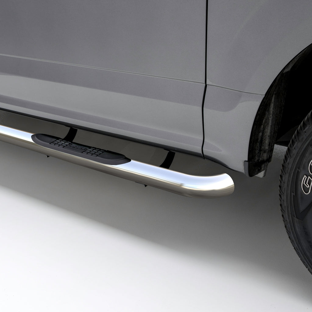 "3"" Round Polished Stainless Side Bars, Select Chevy Silverado, GMC Sierra 1500 204053-2 Aries"