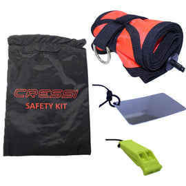 Safety kit with safety sausage, mirror and whistle