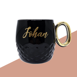Black & Gold Mug with Personalised name