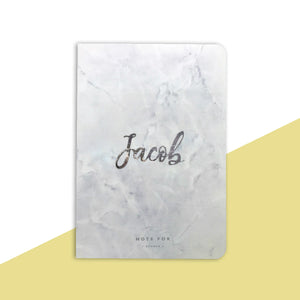 Personalised White Marble Notebook
