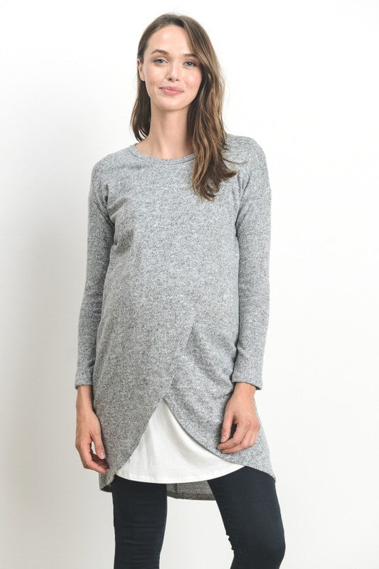 Long Sleeve Grey Sweater Nursing Dress