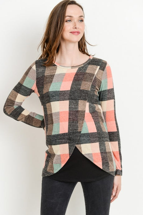 Pink Plaid Sweater Nursing Top